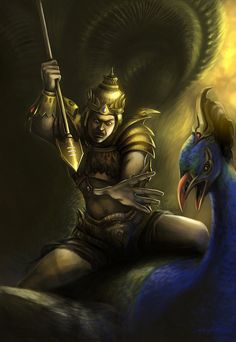 Kartikeya/Murugan- Hindu myth: the god of war, power, and strength. his parents were Shiva and Parvati. he is the commander-in-chief of the gods. he is depicted as a dark skinned man wielding a spear and riding a peacock.