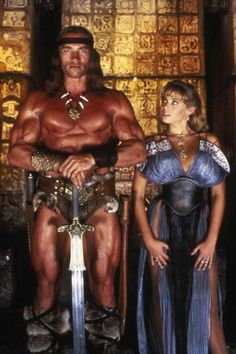 A gallery of Conan The Destroyer publicity stills and other photos. Featuring Arnold Schwarzenegger, Grace Jones, Wilt Chamberlain, Olivia d'Abo and others. Arnold Schwarzenegger, Conan Der Zerstörer, Film Sf, Olivia D'abo, Conan Der Barbar, Robert E Howard, King Robert, Conan The Destroyer, Film Science Fiction