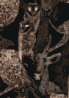 Decadence Wallpaper - Walden - Raven Black