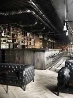 "Restaurant ""aut vincere aut mori"" on behance by daniel nagaets bar interior design, Cafe Bar, Cafe Restaurant, Design Bar Restaurant, Restaurant Concept, Industrial Restaurant Design, Black Restaurant, Modern Restaurant, Bar Interior Design, Cafe Design"