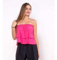 Μονόχρωμο Στράπλες Τοπ με Διπλό Βολάν - Φούξια Tops, Women, Fashion, Moda, Women's, Fashion Styles, Woman, Fasion