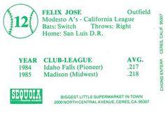 1986 Chong Modesto A's #12 Felix Jose Back