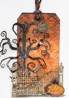 Layers of ink - Double Embossing Tutorial by Anna-Karin Halloween Gothic Gate Tag Halloween Tags, Halloween Projects, Fall Halloween, Halloween Ideas, Happy Halloween, Card Tags, Gift Tags, Handmade Tags, Tag Design