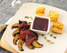 Porcini Crusted Beef Tips with Red Wine Reduction & Pastry Cubes Red Wine Reduction, Beef Tips, Beef Wellington, Waffles, Breakfast, Board, Morning Coffee, Waffle, Planks