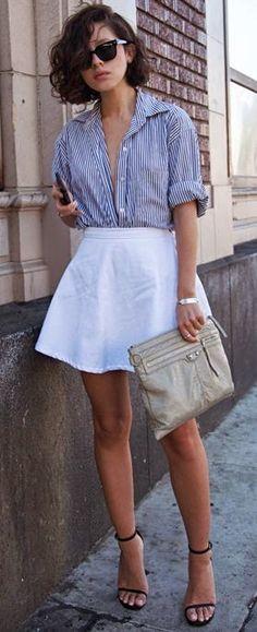 #street #style casual / striped shirt + white skirt @wachabuy
