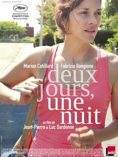 Deux jours, une nuit est un film de Jean-Pierre Dardenne avec Marion Cotillard, Fabrizio Rongione. Synopsis : Sandra, aidée par son mari, n'a qu'un week-end pour aller voir ses collègues et les convaincre de renoncer à leur prime pour qu'elle puisse garder son