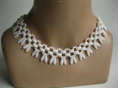 Vintage 1950s Necklace Western Germany White by unionmadebride