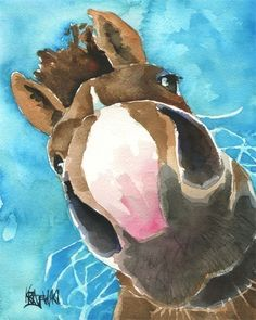 Nosey Horse Art Print of Original Watercolor by dogartstudio