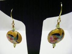 Yellow Cloisonne and Peridot Earrings £7.00