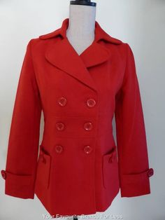 Dangerfield Red Size 10 Double Breasted Jacket Pea Coat New With Tags