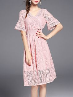 #AdoreWe #StyleWe Midi Dresses❤️Designer Pan Ruo Pink Bell Sleeve Pierced Girly V Neck Lace Midi Dress - AdoreWe.com