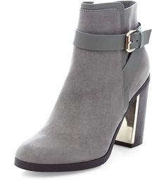 Grey Buckle Strap Block Heel Ankle Boots  | New Look