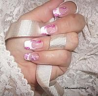 French Wedding manicure with red flower designs