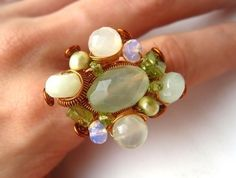 Jewelry Tutorial Big Cluster Wire Ring with beads by cabisuteria, $9.00
