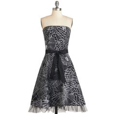 ModCloth Long Strapless A-line Spellbound To Astound Dress (€42) ❤ liked on Polyvore featuring dresses, black, halloween, short dresses, apparel, a line dress, black strapless cocktail dress, black cocktail dresses, mini dress and short black dresses