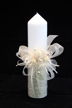 Christening Candle Ceremony Candle First Holy by CeremonyDeluxe, Candle Art, Unity Candle, Candle Lanterns, Candles, Baptism Candle, Baptism Party, Baby Christening, First Holy Communion, Candle Making