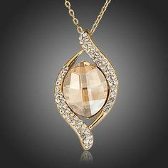 Gold Plated Big Champagne Stellux Austrian Crystal Pendant Necklace  #earrings #jewelry #women #fashion #dresses #rings #khaista #necklace #womensfashion