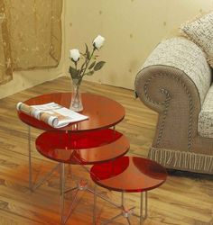 Furniture Smart Round Red Acrylic Table On Laminate Floor Plus Cream Sofa Also Brown Window Curtain Idea Exceptional Home Interior Decoration Ideas with Acrylic Table Furniture