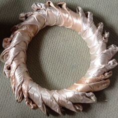 wreath made of old pointe shoes