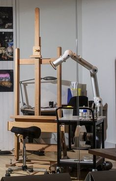 ... Painting Conservation Studio. The Chemical Extraction Unit Shown  Attached To The Too Cart With Itu0027s Adjustable Tube Arm Pointed Towards The  Easel.