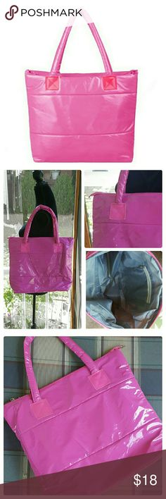 ⤵PRICE DROP?⤵Space Bale Tote NWOT Bright pink, fun, waterproof tote, perfect for winter! See pic # 4 for details. Other colors coming soon. Bags Totes