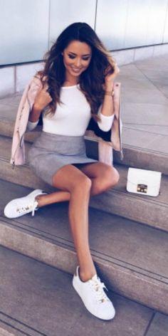Jessica Ricks + suede mini skirt + tight white tee + matching white sneakers + urban street style + we love + blush pink biker style jacket. Coat: Zara, Skirt: Boohoo, Shoes: Michael Kors.