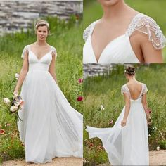 2016 Bohemian Garden Wedding Dresses Stunning Crystal With Cape Sleeve Floor Length Bridal Gown Cheap Hot Sale Summer Plus Size Wedding Dresses Fashion Wedding Dresses In Lace From Longgxlong, $88.45| Dhgate.Com