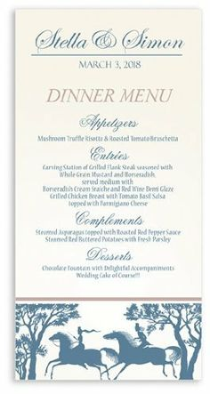115 Wedding Menu Cards - Horse Chase Dayride by WeddingPaperMasters.com. $85.10. Now you can have it all! We have created, at incredible prices & outstanding quality, more than 300 gorgeous collections consisting of over 6000 beautiful pieces that are perfectly coordinated together to capture your vision without compromise. No more mixing and matching or having to compromise your look. We can provide you with one piece or an entire collection in a one stop sho...