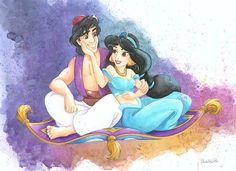 Michelle St Laurent - For You And Me From Disney Aladdin Custom Framed - Original Watercolor on Paper - Disney Fine Art - Original Art