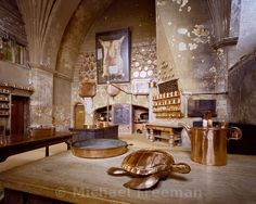 Burghley House  The Elizabethan kitchen of Burghley House, the 16th century Tudor mansion built by Sir William Cecil, Lord High Treasurer to Queen Elizabeth I, in Lincolnshire, England