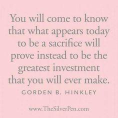 Sacrifices today Hinkley
