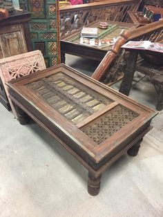 Old Door Coffee Table Indian Furniture Rustic Wooden Hand Carved