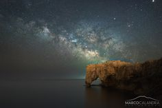 Plemmirio coastline under the Milky Way Italy | by Marco Calandra. [1200x801] xpost /r/SeaPorn.