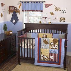 Lil' League Crib Bedding Set. Puppies and balls!