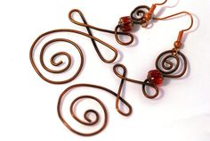 CLEARANCE Copper Earrings Coiled with Red Bead by UrbanJule, $10.00