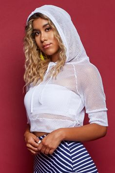 STYLE # 183323 Web Exclusive KNOCKOUT BABE WOMEN'S FISHNET HOODIE CROP TOP $15.99 Athleisure Trend, Athleisure Fashion, Crop Top Hoodie, Fishnet, Make Your Own, Babe, Crop Tops, Hoodies, Stylish