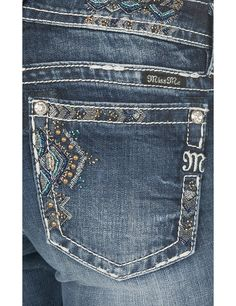 Miss Me Women's Medium Wash with Purple and Gold Chevron Beaded Embroidery Open Back Pockets Boot Cut Jeans | Cavender's