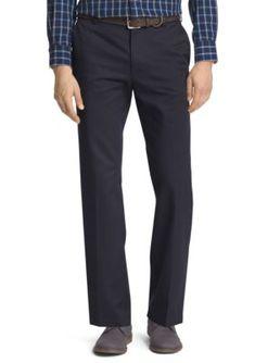 IZOD Navy Slim Fit American Chino Flat Front Wrinkle-Free Pants