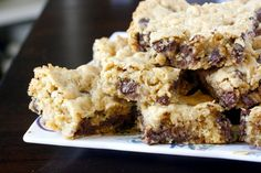 Oatmeal Chocolate Chip Bars - If you're looking for a quick dessert recipe in a pinch, this is it! Made it exactly according to recipe, and it was delicious.