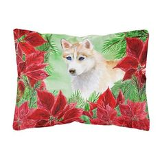 The Holiday Aisle Fredela Siberian Husky Poinsettias Indoor Outdoor Throw Pillow Pillows Dog Throw Throw Pillows