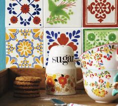 Tile print, tiles, vintage, retro kitchen