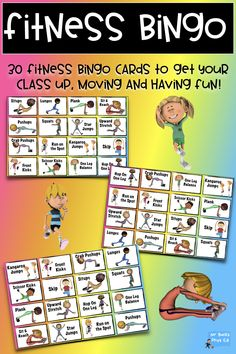 Phys Ed Games – Fitness Bingo Physical Education Teachers! If you are looking for an easy, fun and super engaging way to get your students. Physical Education Activities, Pe Activities, Movement Activities, Baby Education, Pe Games Elementary, Elementary Schools, Ed Game, Pe Lessons, Poetry Lessons