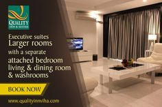 Executive Suites Larger Luxury Rooms with a separate living & dining rooms. #Qualityinnviha #Kumbakonam. For more info Plz. call @ +91 435 2 555 555.