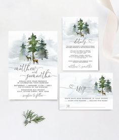 Deer Forest Winter Wedding Invitation Template by Best Celebrations Forest Wedding Invitations, Christmas Wedding Invitations, Invitation Suite, Wedding Invitation Templates, Place Card Template, Brunch Invitations, Baby Shower Signs, Wedding Templates, Font Downloads