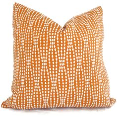 Orange and White Reversible Dot Decorative Pillow by PopOColor