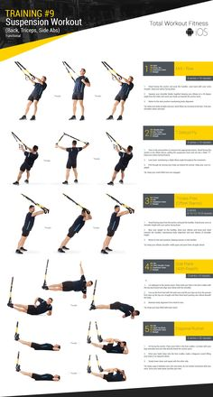 Training #9 - Suspension Workout (Back, Triceps, Side Abs) :: Total Workout… Trx Band, Trx Workout, Workout Fitness, Gym Workouts, Health Fitness, Chest Workouts, Suspension Trainer, Trx Suspension, Bodybuilding For Beginners