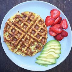 Hashbrown waffles for breakfast this morning, but all I really care about it that perfect avocado!  I have no recipe for the waffles, as I change it up every time and even each waffle.  It's basically shredded Yukon Gold potatoes, salt, pepper, paprika an