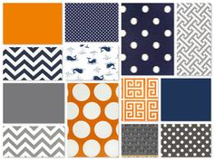 Custom Crib Bedding - 2 piece Set , navy orange and gray