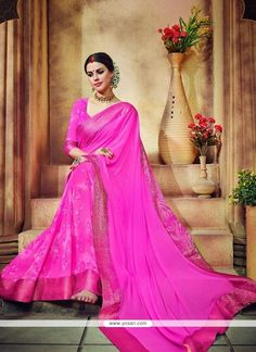 Compelling Georgette Hot Pink Print Work Casual Saree Model: YOSAR8331
