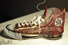 Slideshow wire shoe sculptures